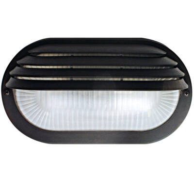 GAO 6930H Műanyag ovális lámpa fél ráccsal E27 max.:60W, fekete 230V~ 50Hz , 205x107x100mm, két ponton rögzíthető (furat táv. 140mm), IP44