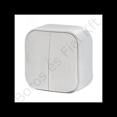 Legrand Forix IP20 falon kívüli kettős egypólusú kapcsoló, 10 AX - 250 V~ fehér   (Átkötéssel csillárkapcsolóvá alakítható)