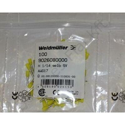 Weidmüller szigetelt Érvéghüvely 1/14  902608 sárga