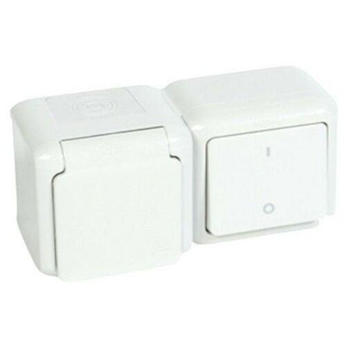 Forix 782372 kapcsolós dugalj 102+162 gyermekvédős falonkívüli-szerelésű fehér IP44