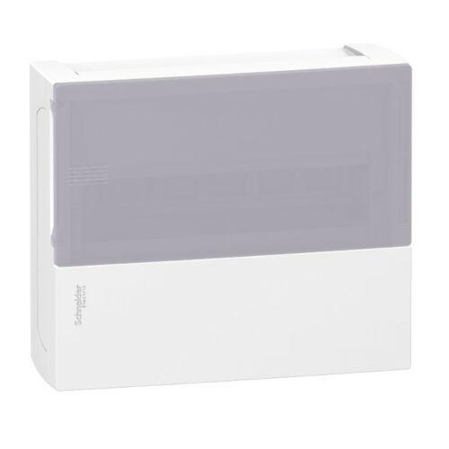 Schneider 12112T kiselosztó falon kívüli átlátszó ajtó 12 modul 1sor IP40 fehér