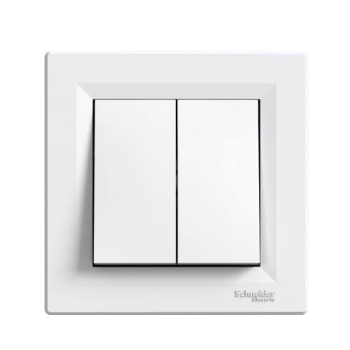 Schneider Asfora 0600121 106+6 dupla váltó kapcsoló kerettel fehér