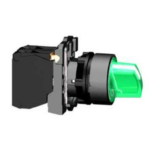 XB5-AK133B5 LED világító választókapcsoló komplett 3 állású rövid forgatókaros zöld reteszelt 1-z 1-ny