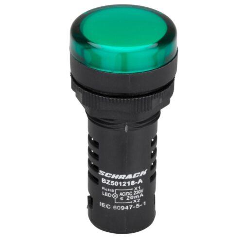 Schrack Kompakt jelzőlámpa, LED, 230V AC/DC, zöld