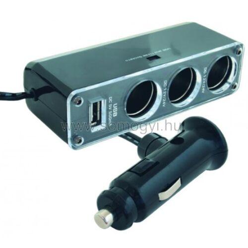 Somogyi SA 023 Szivargyújtó elosztó, hármas + USB aljzat