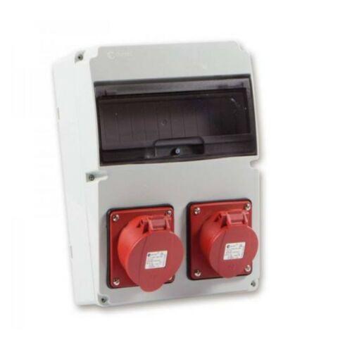 TP Electric 3320-002-5700 Ipari doboz szerelt 220x300-1x(5P16A)+1x(5P32A)+2x(2P+F)oldalsó IP44