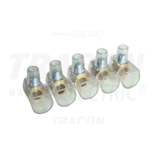 Tracon TBT-10/10 csavaros csatlakozó 10 tagú 10mm2 átlátszó