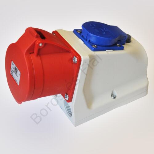 Ipari csatlakozó PCE 9215-6 kombi fali aljzat 16A/5P/400V+16A/230V