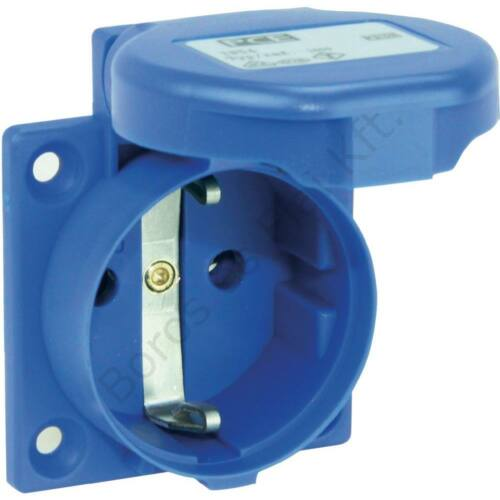 Ipari csatlakozó PCE 105-OB kék beépíthető csapfedeles háztartási aljzat 230V