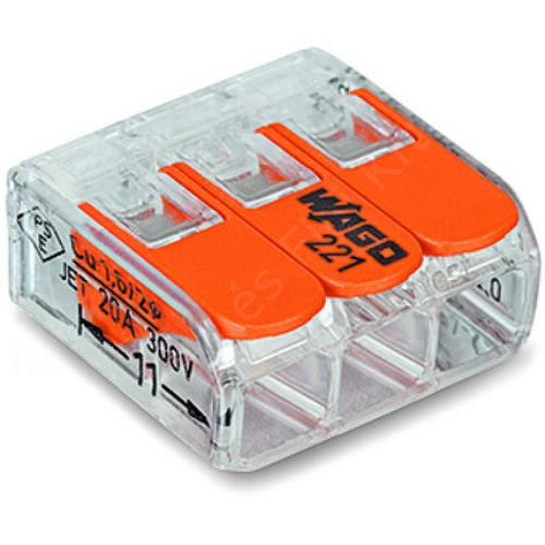 WAGO 221-413 Vezeték össszekötő oldható 3P 0,2-4mm2